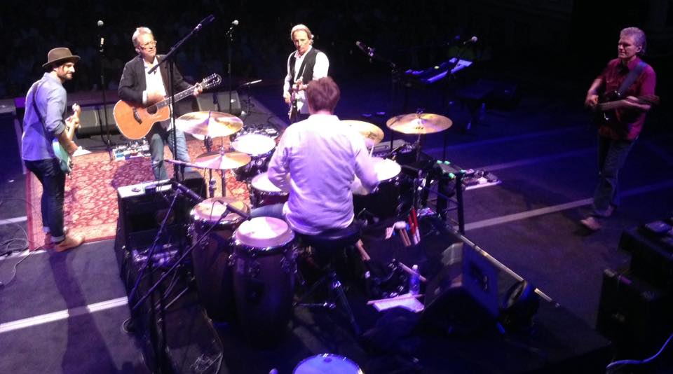Andy Barr Gerry Beckley Dewey Bunnell Ryland Steen and Rich Campbell of the band America performing Sandman in Nashville 2015